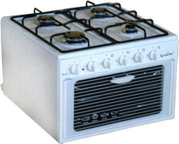 4 котлона на газ фурна на ток, 50/55/38, обем на фурната - 34л, мощност на фурната 1.3KW, мощност на котлоните 7kw