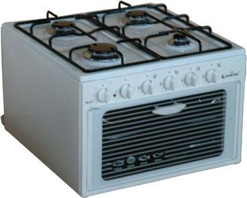 4 котлона на газ фурна на ток, пиезозапалване на котлоните, 50/55/38, обем на фурна 34л, мощност на фурната 1.3kw, мощност на котлоните 7.0kw