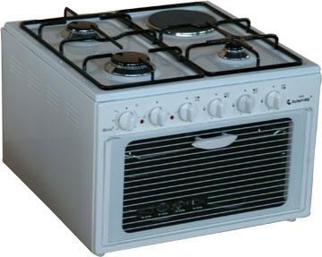 1 котлон на ток 3 котлона на газ, фурна на ток, пиезозапалване, 50/55/38, обем на фурна 34л, мощност на фурна 1.3kw, мощнаст ел. котлон 1kw, мощност на газ. Котлони 5.2kw